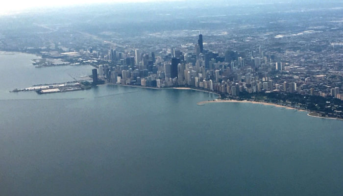 Photo of the Chicago Lakefront from an airplane by Belmont Harbor